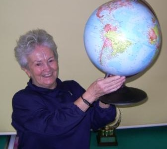 Ethel and globe for new classroom
